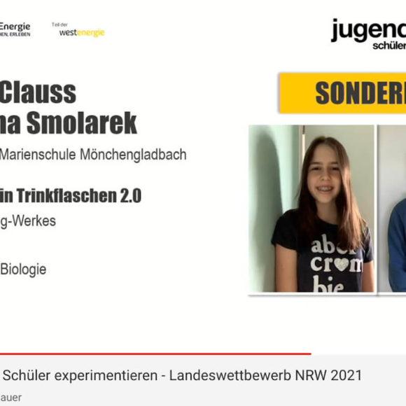 """Sonderpreis für Marienschüler beim Landeswettbewerb """"Schüler experimentieren"""""""